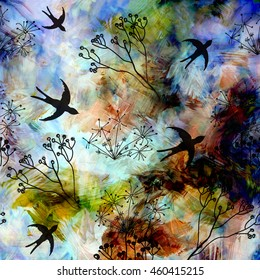Abstract landscape with flying swallows in blue sky on grunge striped blurred land background