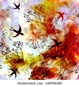 Abstract landscape with flying swallows in sunrise or sunset sky on grunge striped blurred land background