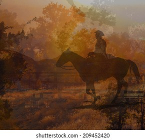 An abstract landscape of a horse and cowboy rider.