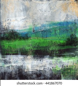 Abstract Landscape - Abstract painting of a rural landscape with a river and hills. Acrylic paint on black card-stock