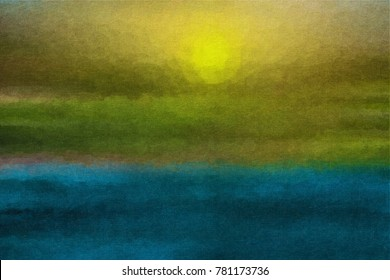 Abstract landscape with sun and sea, oil painting