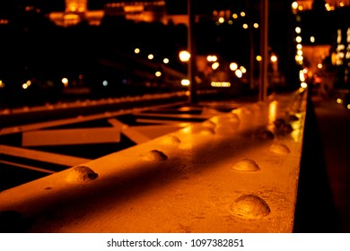 Abstract Landscape, which overlooks the blurred bridge background, night lights, road, city. Budapest, Landhide Bridge, Hungary
