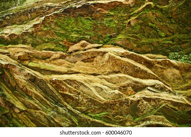 abstract of layered rock wall