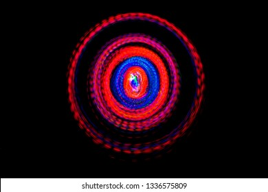 Abstract LED light spin in the dark.