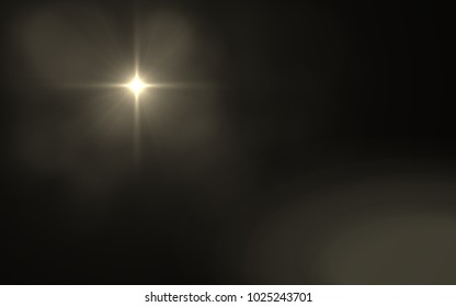 Abstract Lens Flare dusty with black background.Modern abstract beautiful rays light streak background.Gold sun light flare effect