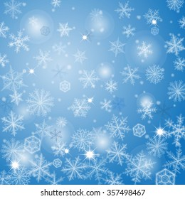 Abstract light blue christmas background with snowflakes. Raster version.