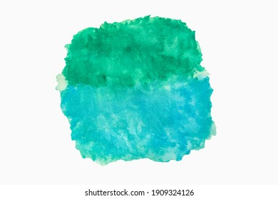 Abstract light blue and light green texture watercolor on white background