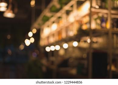 abstract light bokeh background in blur restaurant