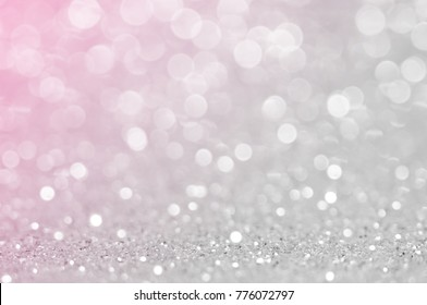Abstract light grey ,sliver pink color de focused circular background. Night light or season greeting background.Luxury backdrop image.