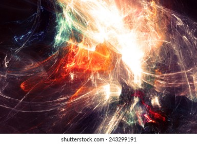 Abstract light neon trail. Glowing futuristic dynamic color background with lighting effect for creative design. Shiny decoration for wallpaper desktop, poster, cover booklet, flyer. Fractal art