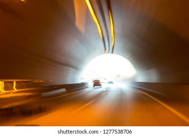 Abstract Light Trails in a Vehicle Tunnel