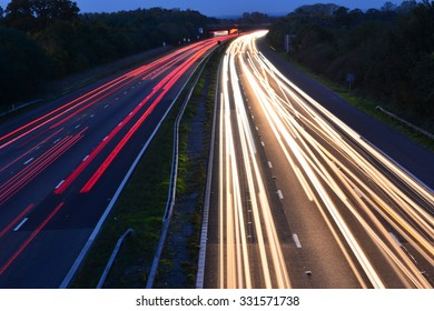 An Abstract light view of traffic on the M23 near London, Gatwick  at dusk in Autumn/Fall.