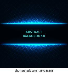 abstract lights azure strips on dark background blue light