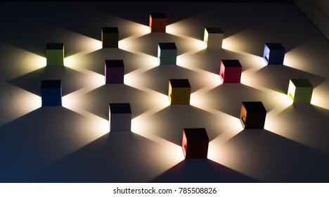 abstract lights cube