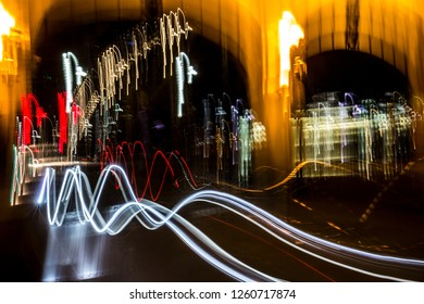 Abstract lights in motion at night from traffic on the Smithfield Street Bridge in Pittsburgh, Pennsylvania.
