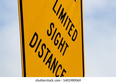 Abstract limited sight distance sign with sky