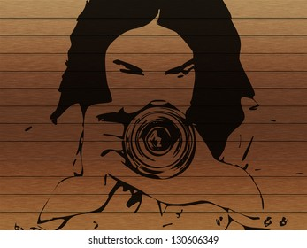 Abstract line art of a girl with photo camera on grunge background.