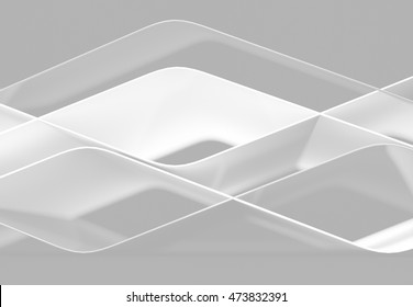 Abstract lines and 3D shapes with wave form. 3d illustration