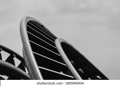 Abstract lines in black and white of a rollercoaster