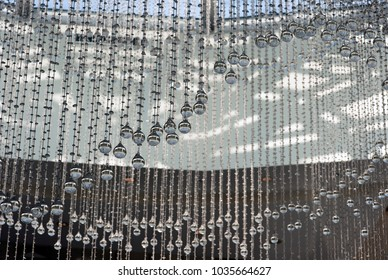 abstract lines of crystal elements of chandelier