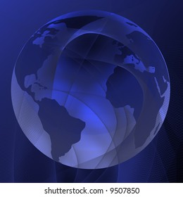 Abstract lines with integrated globe