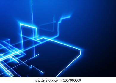 Abstract lines on bright blue background. Futuristic circuit board. Global Network, computer technology. 3D rendering.
