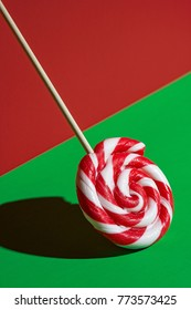 Abstract lollipop on green and red