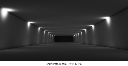 Abstract long dark empty tunnel interior with spot lights illumination. Digital 3d render illustration