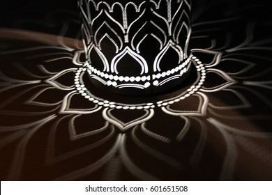 Abstract of lotus light on the column
