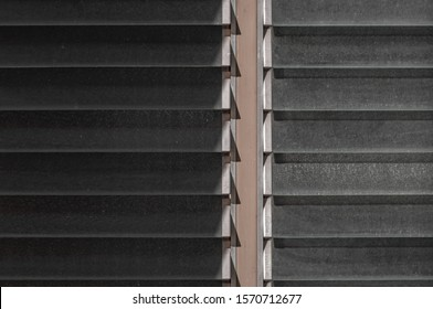 Abstract Louvers Window Pattern on Building Wall Surface Concept, Glass Ventilation System Design for Architecture Air Gate