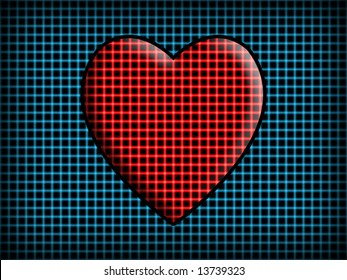 An abstract love background illustration with a heart in the middle.