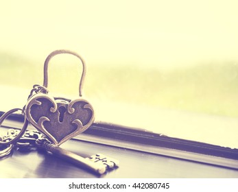Abstract of love concept of the golden heart love lock and key near glass windows and green garden blur background. Vintage effect.