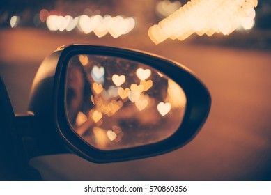 Abstract: Love Concept, Heart Bokeh background in vintage filter