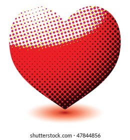 Abstract love heart made of halftone dots with a drop shadow