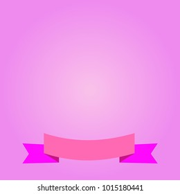 Abstract love pink gradient background and ribon illustrations. Free space to insription.