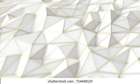Abstract low-poly background, gold triangle grid, 3d rendering
