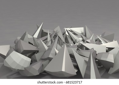 Abstract lowpoly grey triangles 3d illustration