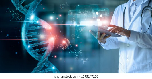 Abstract luminous DNA molecule. Doctor using tablet and check with analysis chromosome DNA genetic of human on virtual interface. Medicine. Medical science and biotechnology. - Shutterstock ID 1395147236