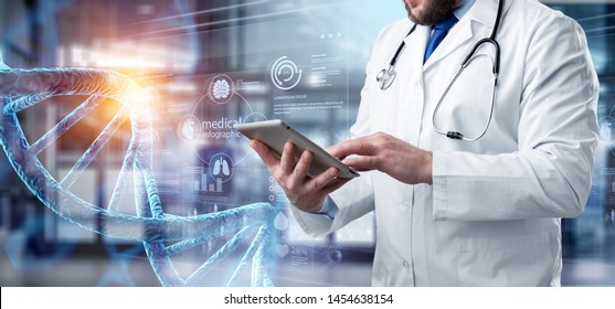 Abstract luminous DNA molecule. Doctor using tablet and check with analysis chromosome DNA genetic of human on virtual interface. Medicine. Medical science and biotechnology.          - Image