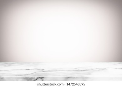 Abstract Luxury Marble Table with Blurred White Gradient Texture Background with Grain, Suitable for Product Display and Natural Concept.