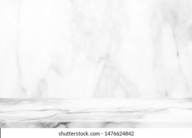 Abstract Luxury White Marble Table with Wall Background.