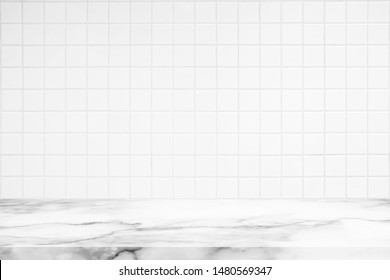 Abstract Luxury White Marble Table with Kitchen Wall Tiles Texture Background.