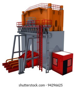 abstract machine (hydraulic press) 3d render isolated on white