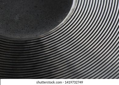 Abstract macro of the bottom of new frying pan