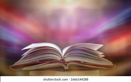 Abstract, magic book, gold magic, blank, magic light for making background images and design, placing beautiful text