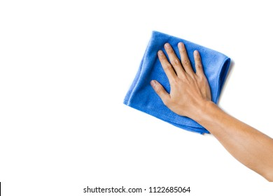 Abstract male hand holding blue microfiber cleaning cloth on white. Background copy space for add text or art work design.