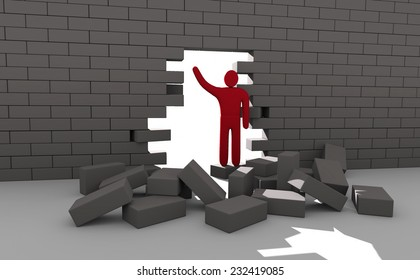 Abstract man breaking trough a wall. Concept of overcoming obstacles