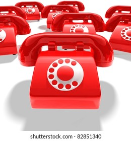 abstract - many red telephones - 3D render bitmap