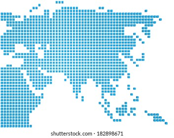Abstract map of the Asia made of blue boxes