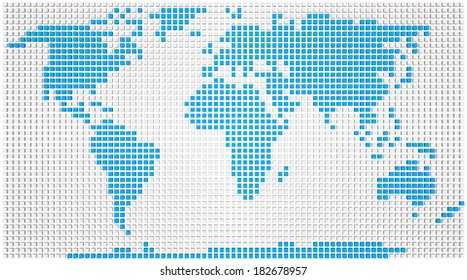 Abstract map of the world made of blue and white boxes